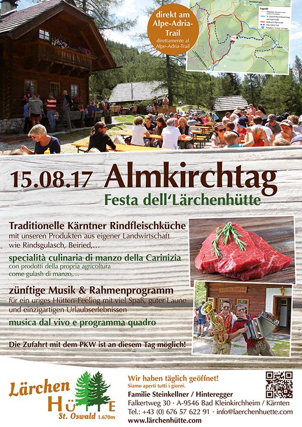 Plakat Almkirchtag Lärchenhütte